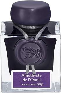 J. Herbin 1798 Anniversary Inks - Silver Sheen 50 ml Bottled - Amethyste de L'Oural (Rich Deep Purple Ink)