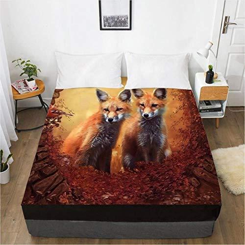 3D Fitted Sheet Bett Matratze Fitted Cover Custom Design Bettwäsche Bettwäsche Bettlaken 198 * 203cm Animal Fox Bedbed Bedbed