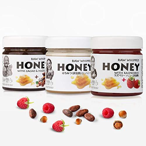 【Amazon.co.jp 限定】非加熱 無殺菌 ハニー セット品 純粋生はちみつ / ラズベリー生はちみつ / カカオハニー ギフトセット ヘルシーブレックファストセット Healthy Breakfast Raw Honey Gift Set: Raw