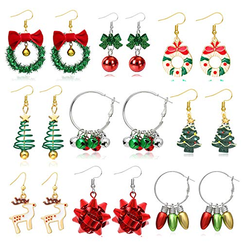 9 Pairs Christmas Earrings Dangle for Women Christmas Tree Bow Jingle Candy Earrings Xmas Earrings Gift for Girls (Holiday Earrings Set)