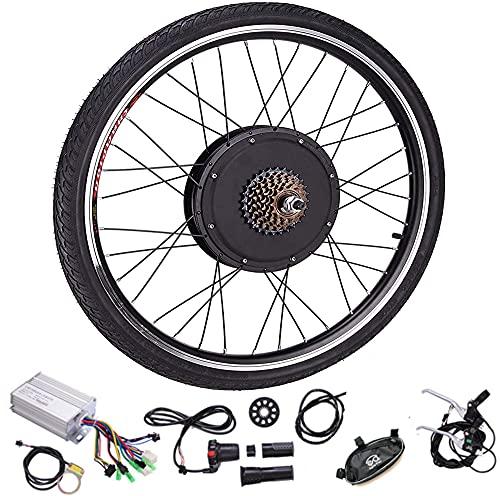 DREAMyun Kit de Conversión de Bicicleta Eléctrica 48V/1000W 20' 24' 26' 27.5' 28' 29' 700C Delantera/Rueda Trasera DIY Electric Bike Conversion Kit con Controlador de Modo Dual,Rear Wheel,24'
