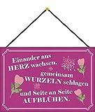 Generisch Cartel de chapa con texto en alemán 'Seite an Seite aufblühen Metallschild con cordón, 20 x 30 cm