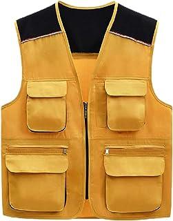Jotebriyo Mens Multi-Pockets Camo Print Fishing Outdoor Photography Vest