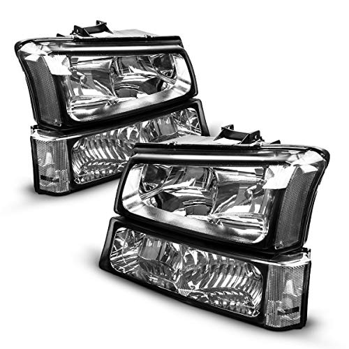 Silverado Headlight from Torchbeam, Replacement Headlight Assembly for 2003-2007 Silverado/Avalanche 1500/2500/3500 Chrome Housing Clear Reflector Smoke Lens Driver and Passenger Side
