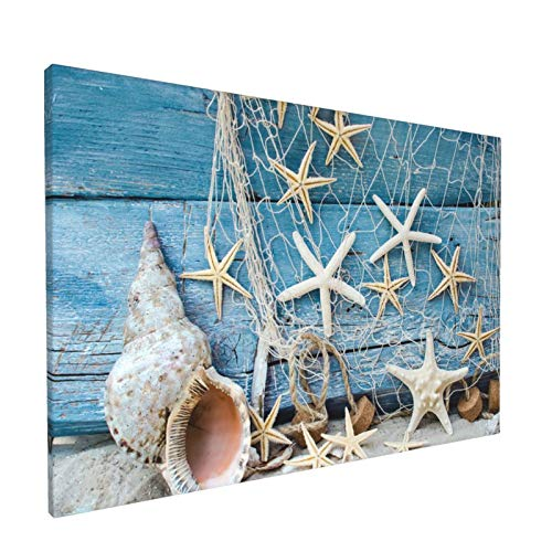 Aieefun Canvas Wall Decor Art Painting Print, Summer Seashell Beach Starfish Home Decoration Artwork Framed Picture Ready to Hang 12x18 Inches