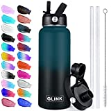 Glink Stainless Steel Water Bottle with Straw, 40 oz Wide Mouth Double Wall Vacuum Insulated Water Bottle Leakproof, Straw Lid and Spout Lid with New Rotating Rubber Handle