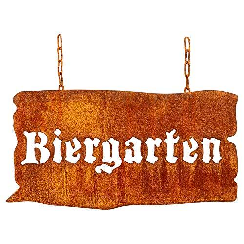 Manufaktur-Lichtbogen Rost Schild Biergarten Edelrost Gartenschild aus Metall