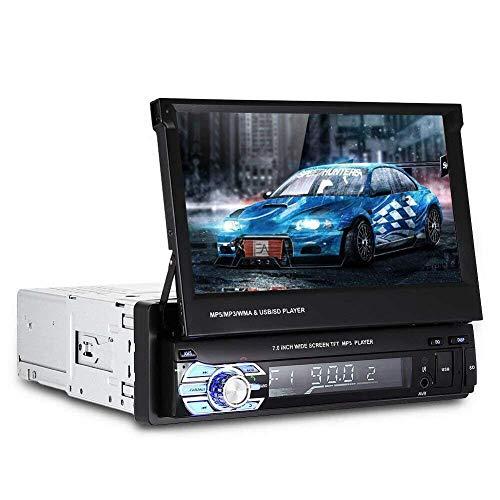 Autoradio Bluetooth Stereo, Riloer 7'Singolo 1 Din Autoradio Lettore MP5 stereo + telecomando e fotocamera posteriore