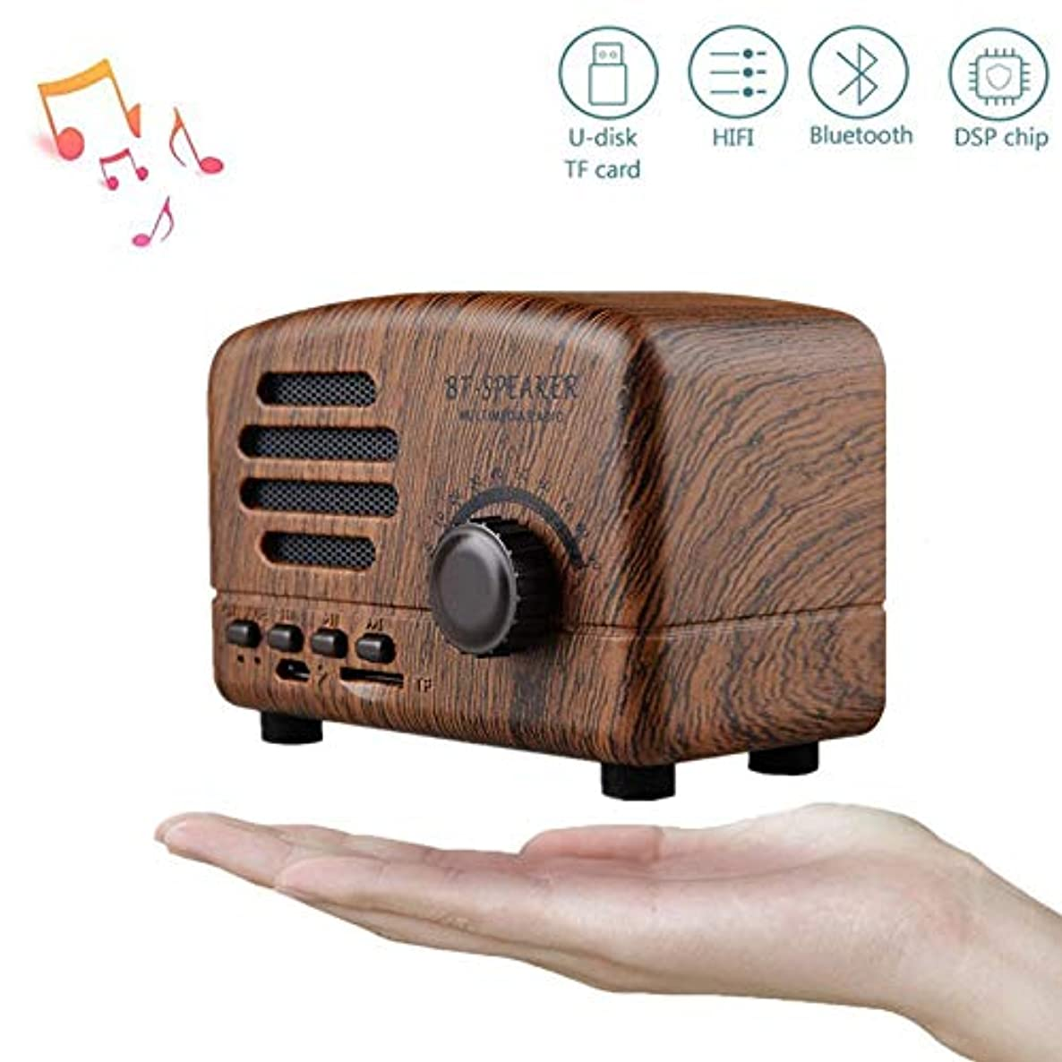 OUYAWEI Retro Portable Mini Bluetooth Speaker Wireless Speakers Super Bass Music Loudspeakers Support TF Card FM Radio Wood Grain