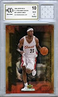 2003/04 Upper Deck Freshman Season Lebron James Rookie Card with Piece of Authentic Lebron James Game Used High School Jersey Graded BGS Beckett 10 Mint GGUM Card !