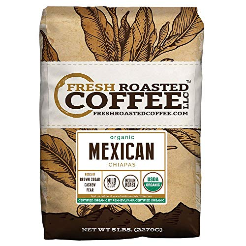 Fresh Roasted Coffee LLC, Organic Mexican Chiapas Coffee, USDA Organic, Medium Roast, Whole Bean, 5 Pound Bag