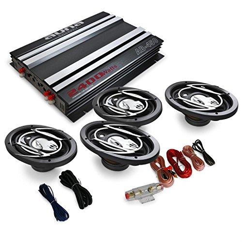 Auna Platin Line 420 Equipo de Sonido para Coche HiFi (1x Amplificador 4 Canales 2400W, 4X Altavoz 6x9 900W, Kit Cables)