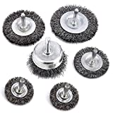 NERUB 6 Piece Wire Wheel & Cup Brush Set with 1/4-Inch Shank - General Purpose 0.3mm Coarse Crimped Carbon Steel Wire Brush for Drill