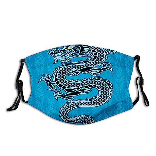 Nisdsgd Fashion 3D Face Protect Printed Gesichts-Mundschutz,Black Dragon on Blue Tribal Background Year of The Dragon Themed Art
