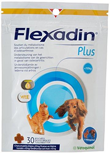 Vetoquinol Flexadin Plus - Complemento alimenticio para Gatos y Perros (Menos de 10 kg, 30 bocados)