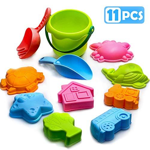 Strandspeelgoed voor kinderen, speelset met zandkasteel met emmer met schop en hark en ander model met gereedschap, strandspellen voor kinderen voor peuters