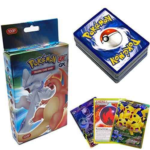 SunAurora - 100 PCS Pokemon Cartes - 78 EX Cartes + 21 GX Cartes + 1 Énergie Carte - Cartes Pokémon Flash