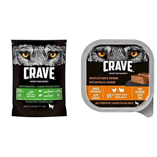 CRAVE Premium Trockenfutter mit Lamm & Rind für Hunde – Getreidefreies Adult Hundefutter mit hohem Proteingehalt – 5 x 1 kg & Premium Pastete mit Truthahn & Huhn für Hunde
