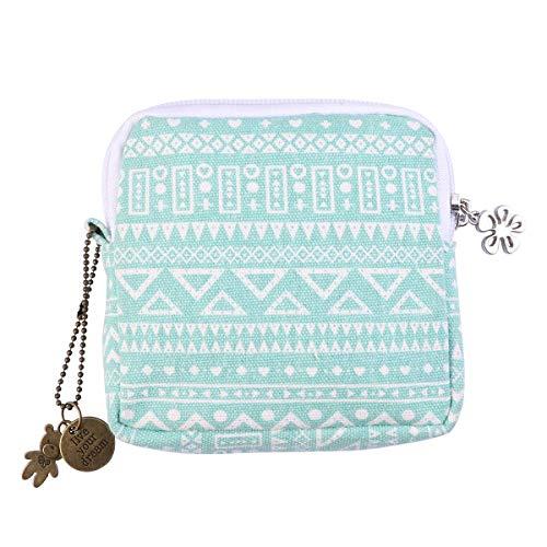 ZIYUMI Canvas Coin Purse Sanitary Napkins Bags Holder Organizer Zipper Tampon Bag for Women Girl (Green, Geometry)