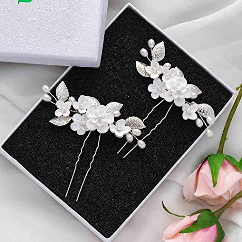 Vakkery - Horquillas para el pelo de novia con diseño de hojas de flores y perlas plateadas, accesorios para el pelo de novia para mujeres y niñas (2 unidades)