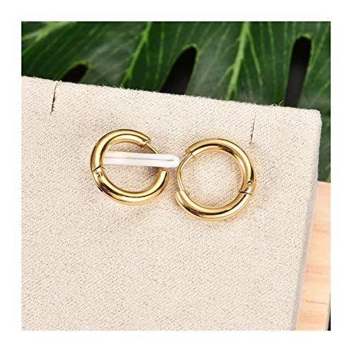 Fashion Women Men Punk Gothic Stainless Steel Simple Round Stud Earrings Lover 3 Colors 3 Size Earring (Main Stone Color : 10mm, Metal Color : Gold)