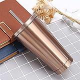 Tazza di isolamento doppio in acciaio inox 600ml tazza di paglia a vuoto con coperchio tazze di birra for tazza di tè tazza di metallo bevanda tazze da viaggio paglia