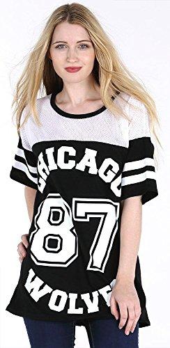 Chicago 87 Wolves Damen T-Shirt Baseball Lang Locker Uni-Stil Gr. M-L, Schwarz – Schwarz.