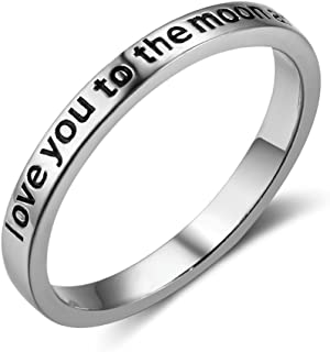 925 Sterling Silver 'Love You to The Moon and Back' Band Ring, Size 6 7 8