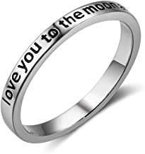 Furious Jewelry 925 Sterling Silver 'Love You to The Moon and Back' Band Ring, Size 6 7 8