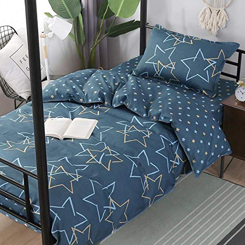 Miwaimao Three-Piece Cotton School Dormitory Bunk Beds Student Single Cotton Bed Linen Quilt Cover Pillowcase,Star,0.9/1.0/1.2 M Bed