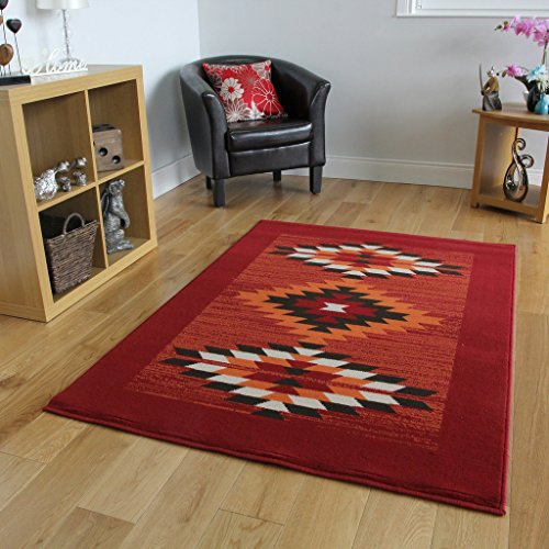 Milan Red, Terracotta, Brown & Off-White Tribal Aztec Rug 1632-S55-8 Sizes