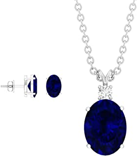 2.75 CT Lab Created Blue Sapphire Jewelry Set, HI-SI Diamond Necklace Set, Gold Pendant Set with Earrings