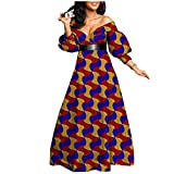 African Print Dresses for Women Plus Size Formal Evening Long Maxi Dress with Belt A-line Floral Outfits 543 6X/US24 (Apparel)