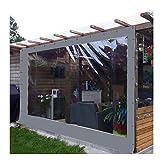 YJSMB Al Aire Libre Cortina, Claro Lonas Paneles Laterales Impermeable A Prueba De Polvo Diseñado para Área De La Barra del Mirador, Pérgola De Madera (Color : Gray, Size : 2x2.5m/6.5x8.2ft)