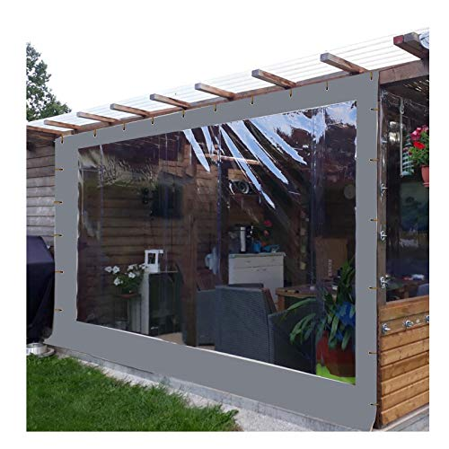 YJSMB Al Aire Libre Cortina, Claro Lonas Paneles Laterales Impermeable A Prueba De Polvo Diseñado para Área De La Barra del Mirador, Pérgola De Madera (Color : Gray, Size : 2x2.5m 6.5x8.2ft)