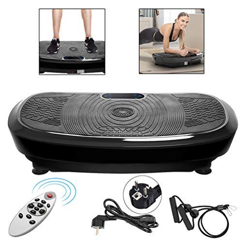 SOONSOP Professionelle Vibrationsplatte 3D Wipp Vibrationsgeräte Fitness Heimtrainer mit 2 Leistungsstarkem Motor + Bluetooth Musik, Trainingsbändern + Fernbedienung