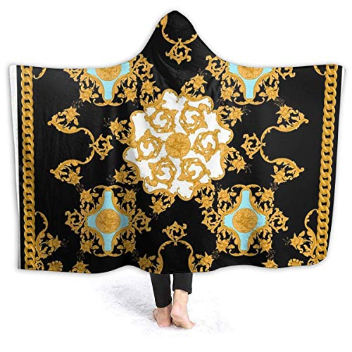 maichengxuan Manta con Capucha 3D Golden Baroque Super Soft Sherpa Fleece Blanket 80'x60'