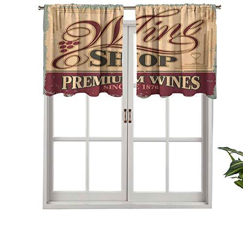 Hiiiman Cenefa corta recta, estilo vintage oxidado, estilo pop, para tienda de vinos, juego de 1, 106,7 x 45,7 cm para ventanas de cocina