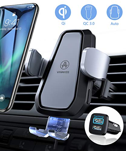 VANMASS Wireless Car Charger Mount, Automatic Clamping 10W 7.5W Qi Fast Charging Mount, Air Vent Phone Holder with QC 3.0 Fast Charger, Compatible with iPhone 11 Pro Max Xs X 8, Samsung S10 S9 Note 10