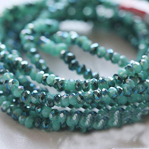 KEHUITONG Großhandel 2mm Winzige Kristall Tschechische Korne facettierten Farbe überzog Troddel Schmuck Ohrringe HaarBarrette-Material (Farbe : Fluorescent Green)