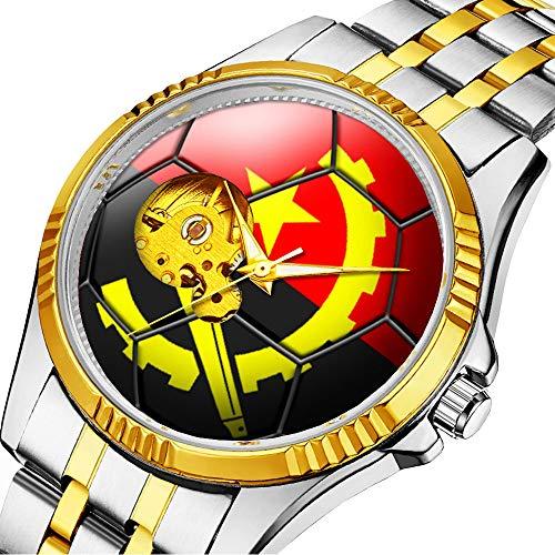 Mechanische Uhr Herrenuhr Klassische mechanische Uhr Timeless Design Mechanic (Gold) 513.Fahne von Angola Fußball-Ball