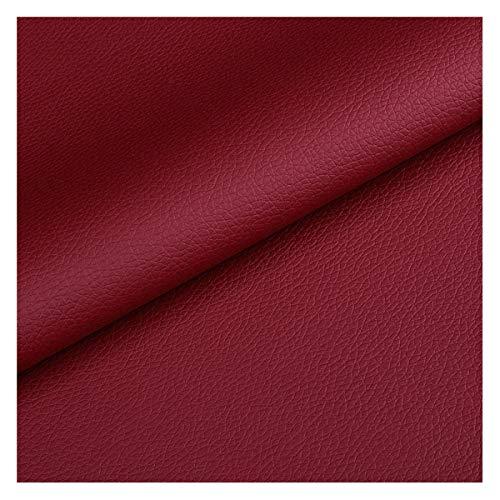 NIANTONG Tela de Polipiel Rojo por Metro 140cm de Ancho Tela de Vinilo de Cuero Sintético con Patrón de Litchi para Tapicería de Sillas de Sofá, Manualidades(Color:burgundy9)