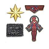 Marvel Comics Unisex Adult Captain Marvel Enamel Lapel Pin Set (4 Piece), Gold/Silver/Red, One Size