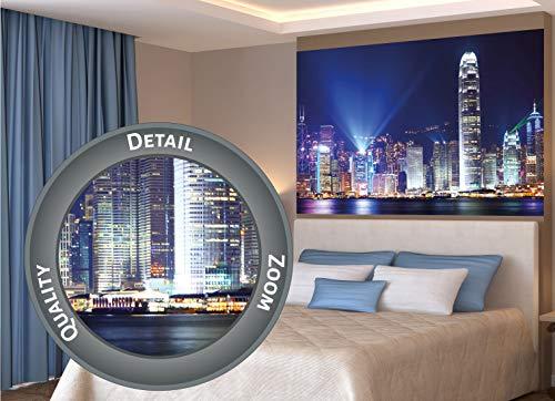 GREAT ART® XXL Poster – Hong Kong di Notte – Decorazione Deco Mega City Sightseeing Città turistiche Luci di Metropoli Scena Notturna Skyline China Fotomurale 140 x 100 cm