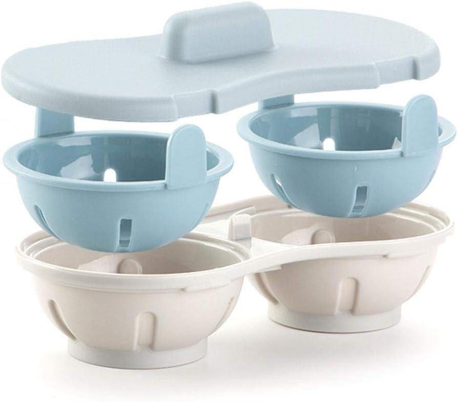 BVYO Perfekt gekochte Eierkochschale, Eierpfanne Küche Gedämpftes Eierkocher-Set, Doppelkochwerkzeug Mikrowelle, Orange Sky Blue