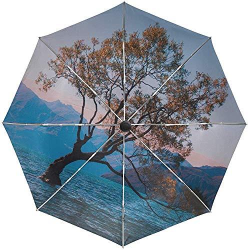Automatischer Regenschirm Ree Lake Lonely Travel Praktisch Winddicht Wasserdicht Schnelltrocknend Zusammenklappbar Auto Öffnen Schließen