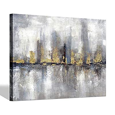 Abstract Canvas Picture Wall Art: Gold Admixture Complex Dazzling Fall Painting for Living Rooms… by Wallart 4U