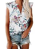 Xineppu Womens Floral Print Tank Top Summer V Neck Frill Cap Sleeve Flowy Shirts White