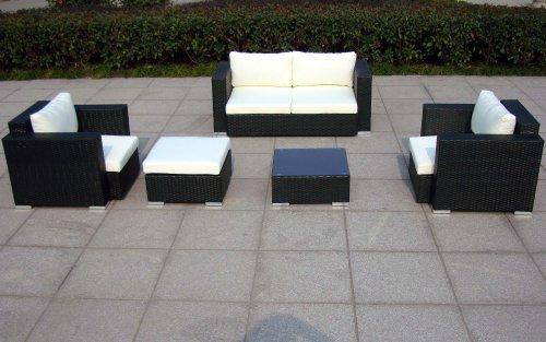 Baidani Design Rattan Lounge Garnitur Sun Dream, 13-teilig, schwarz