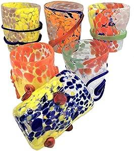 Goto Veneciano - Juego de 6 vasos de agua de cristal de Murano fabricados en Italia